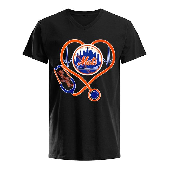 Nurse Heartbeat New York Mets V-neck-t-shirt