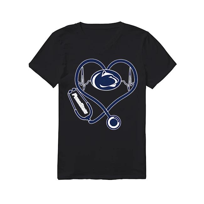 Nurse Heartbeat Penn State University V-neck T-shirt