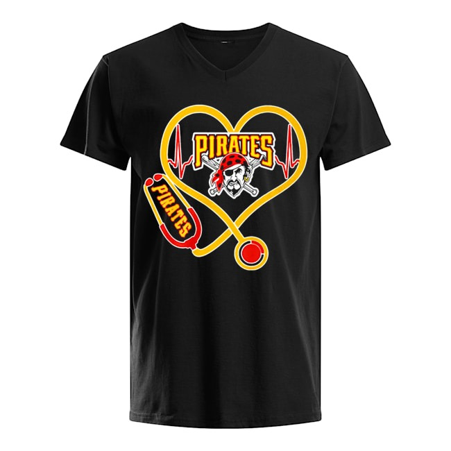 Nurse Heartbeat Pittsburgh Pirates V-neck-t-shirt