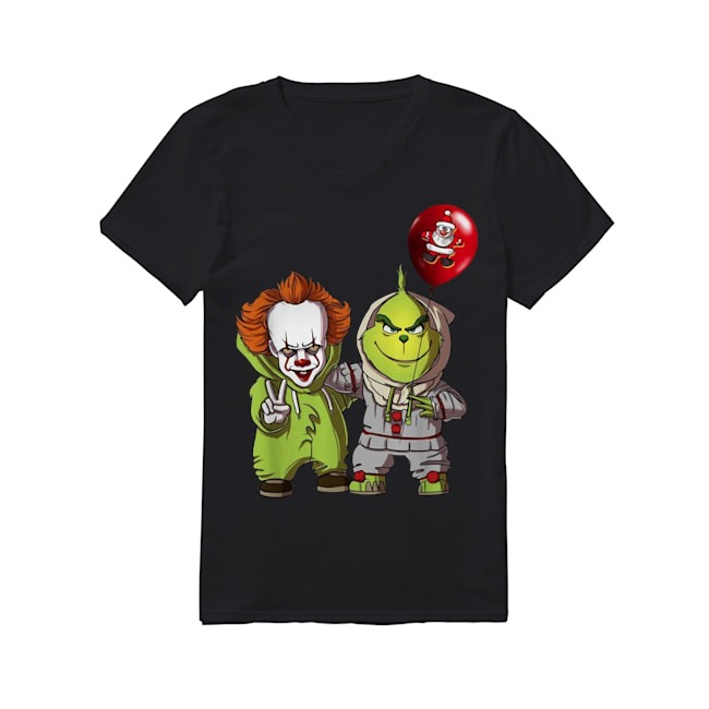 Pennywise and Grinch Santa Claus V-neck T-shirt