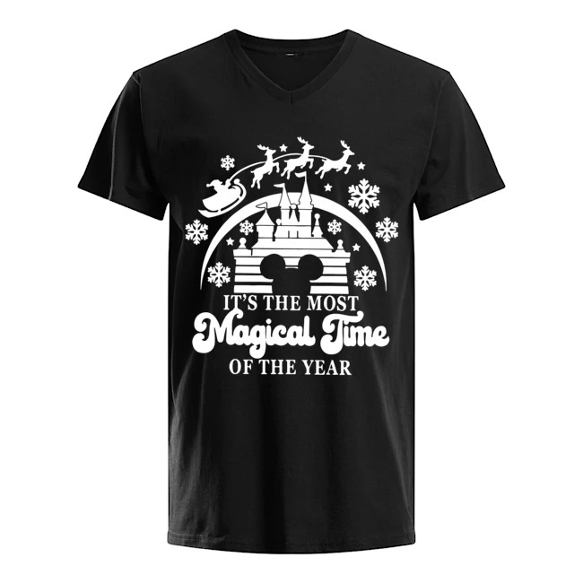 Walt Disney The Most Magical Time Of The Year Merry Christmas V-neck T-shirt