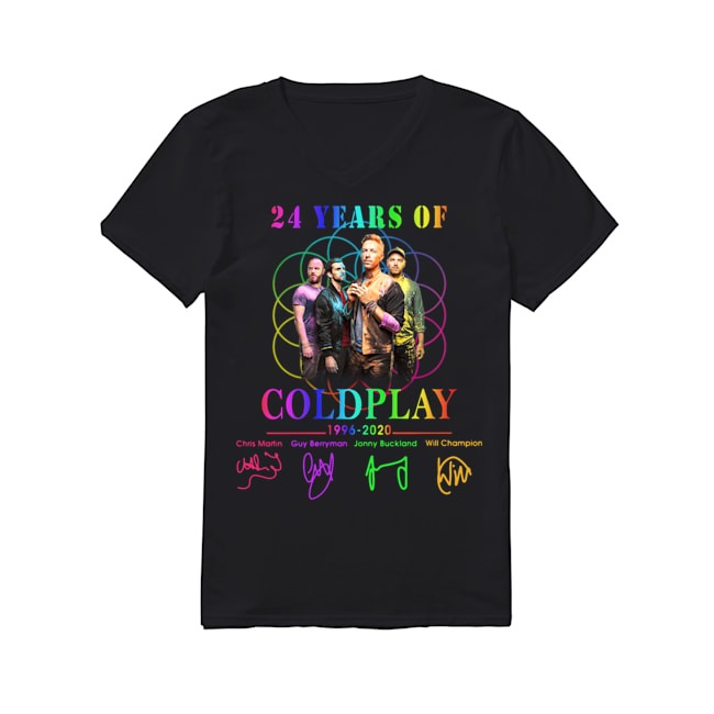 24th Years Of Coldplay 1996-2020 signature V-neck T-shirt