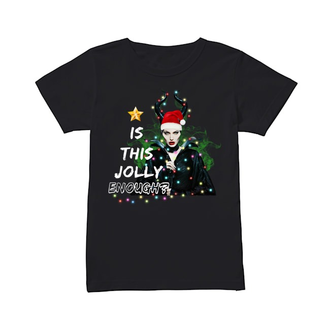 Angelina Jolie Maleficent Is This Jolly Enough Christmas Light Ladies Tee