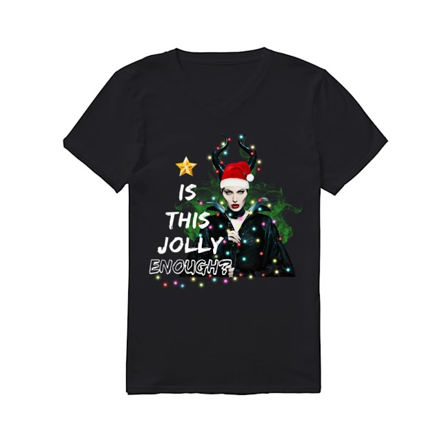 Angelina Jolie Maleficent Is This Jolly Enough Christmas Light V-neck T-shirt
