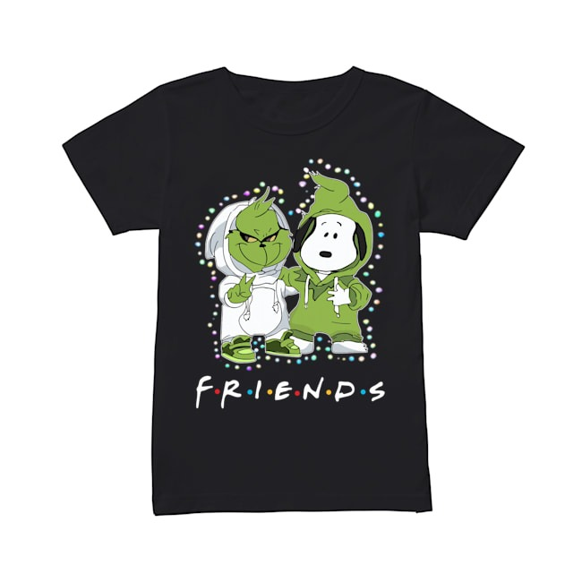 Baby Grinch Snoopy Friends TV Show Christmas Light Ladies tee