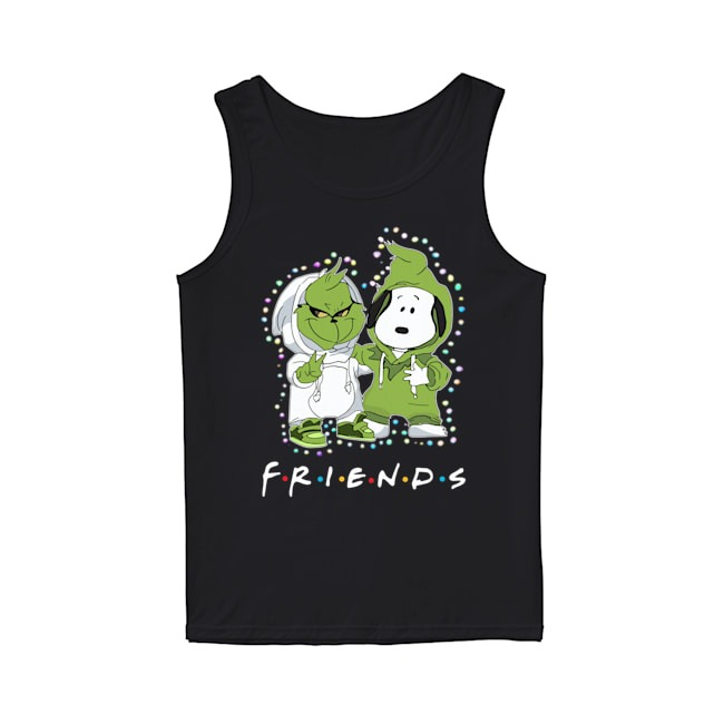 Baby Grinch Snoopy Friends TV Show Christmas Light Tank Top