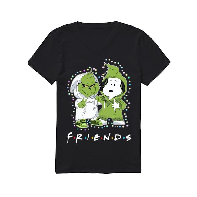 Baby Grinch Snoopy Friends TV Show Christmas Light V-neck T-shirt