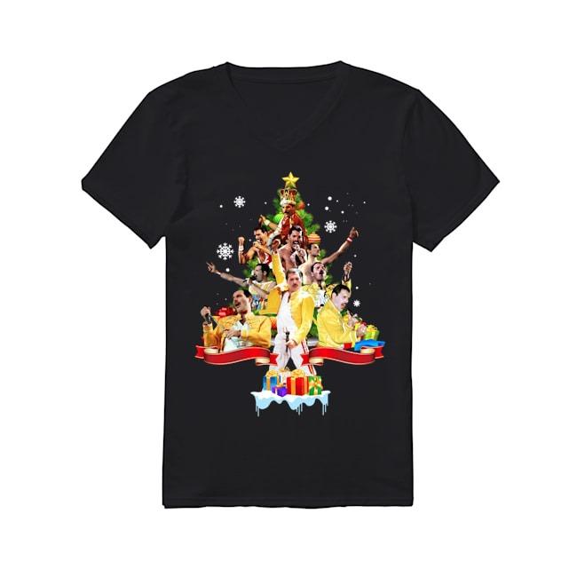 Freddie Mercury Merry Christmas V-neck T-shirt