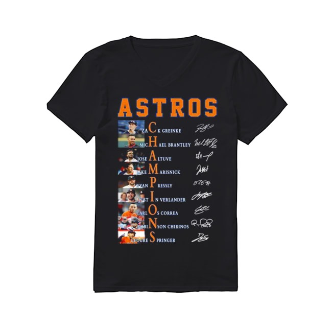 Houston Astros Champions signature V-neck T-shirt