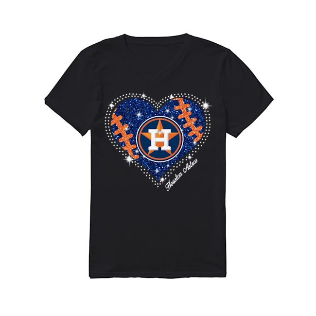 Houston Astros Heart Baseball V-neck T-shirt