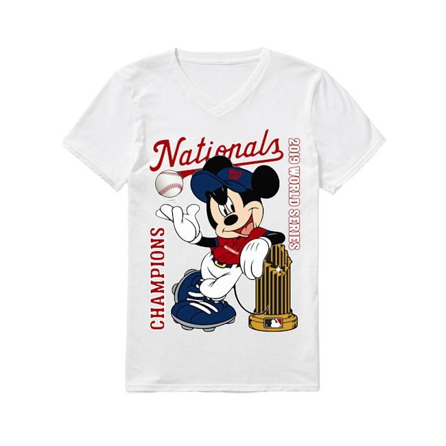 Walt Disney Mickey Mouse Washington Nationals Champions 2019 World Series V-neck T-shirt