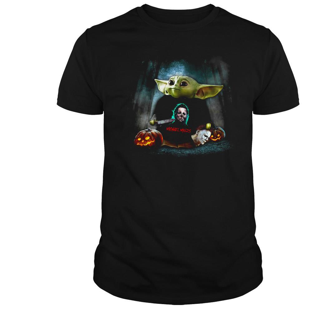 Star Wars Baby Yoda hug Michael Myers Halloween shirt