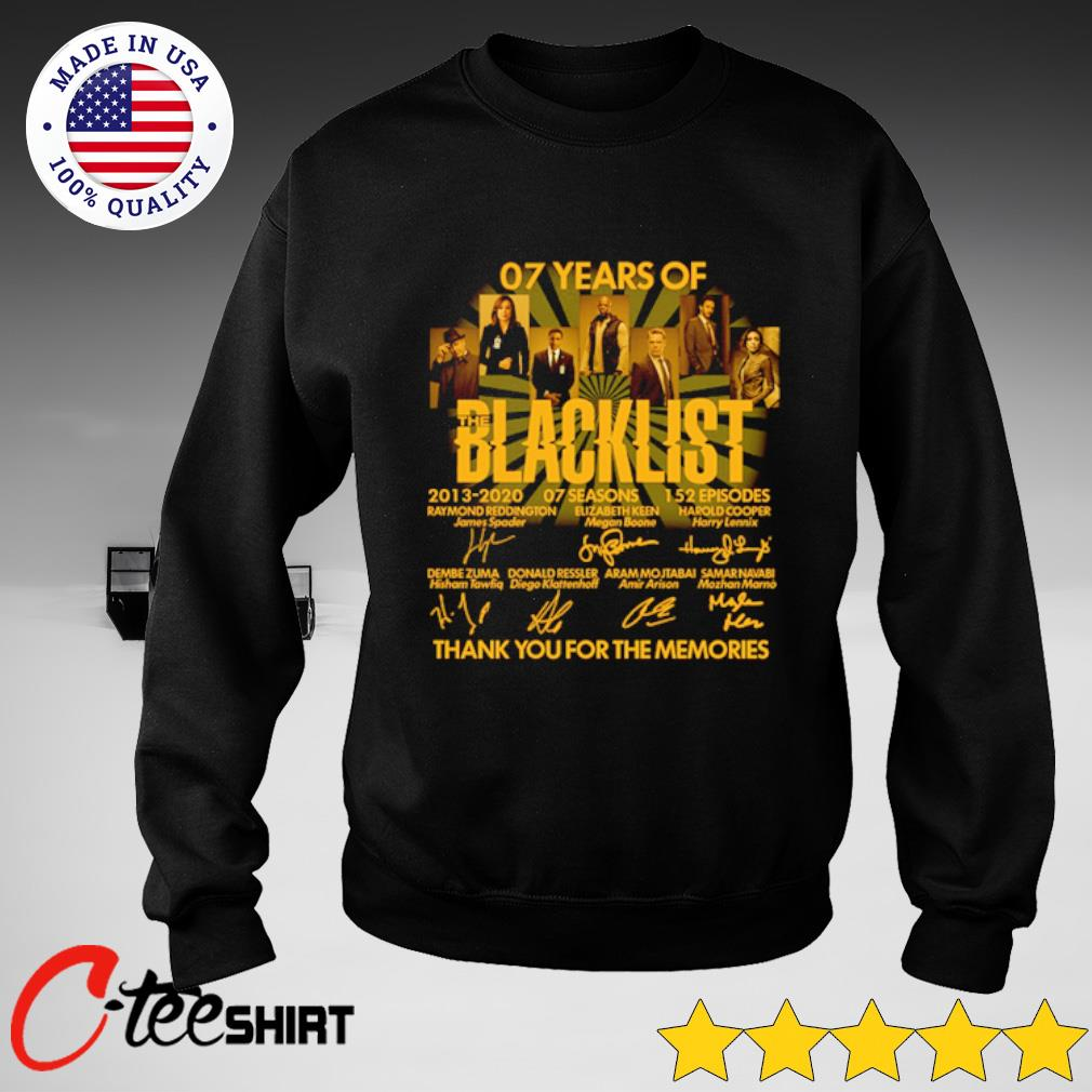 07 Years Of Blacklist 2013 2020 Thank You For The Memories Signatures Shirt sweater