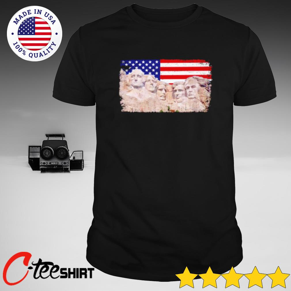 45th Added to Rushmore Mount America Flag shirt