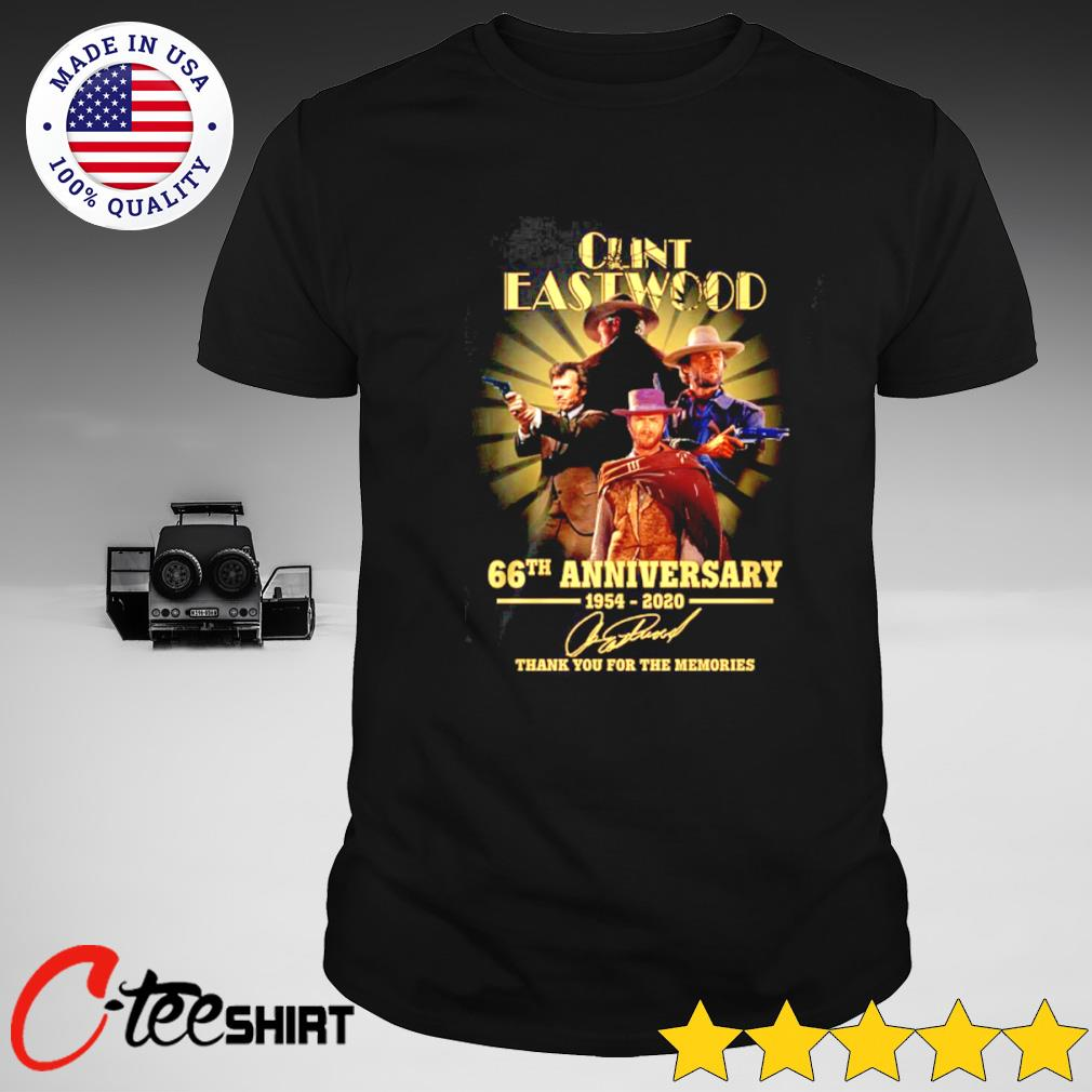 Clint Eastwood 66th Anniversary 1954-2020 signature thank you for the memories T-shirt