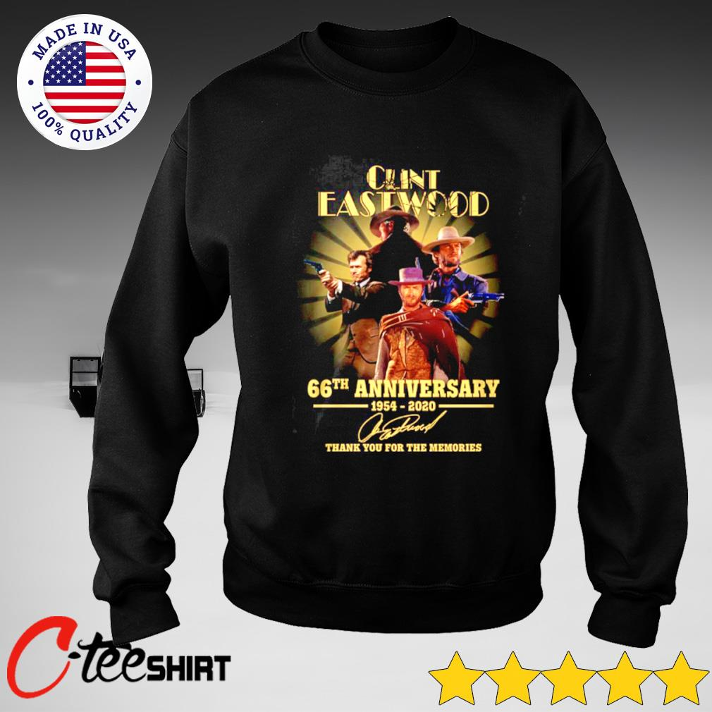 Clint Eastwood 66th Anniversary 1954-2020 signature thank you for the memories T-s sweater