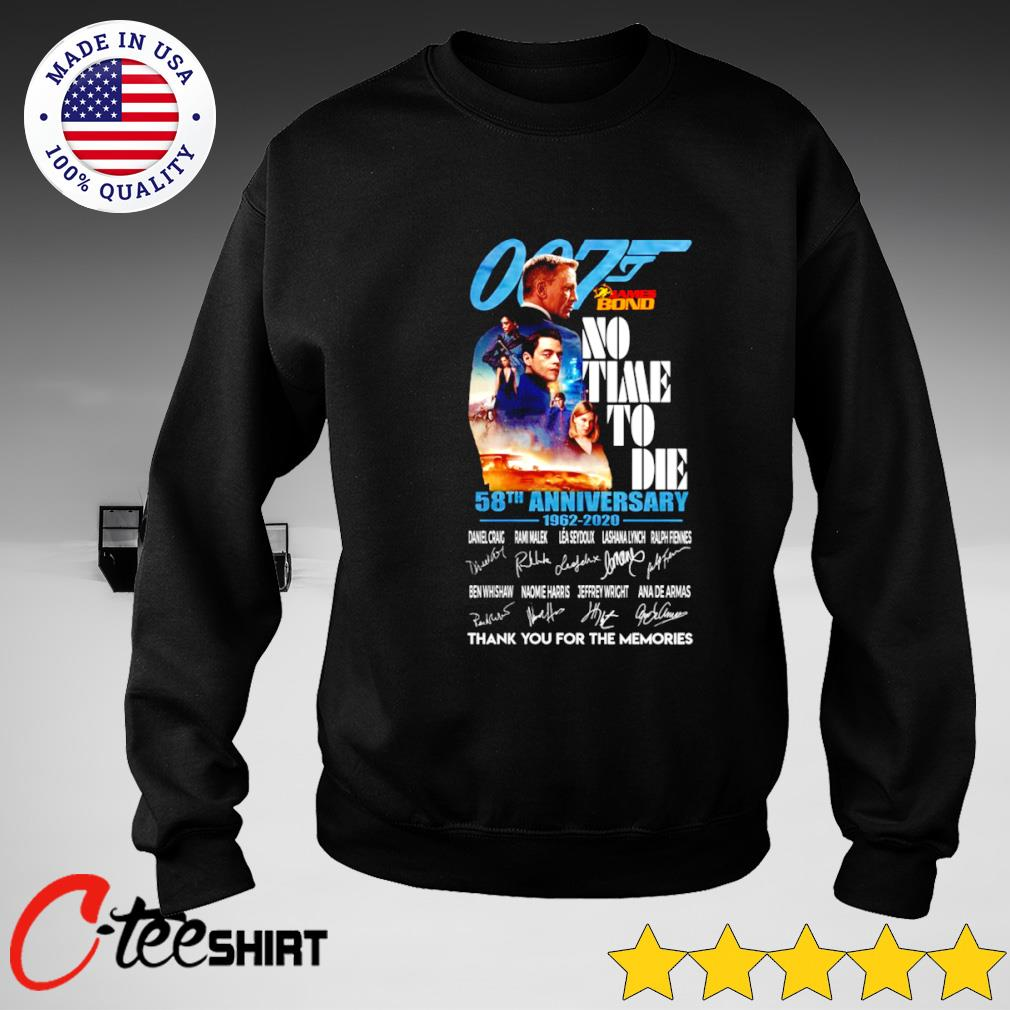 007 James Bond No time to Die 58th Anniversary 1962-2020 signature thank you for the memories s sweater
