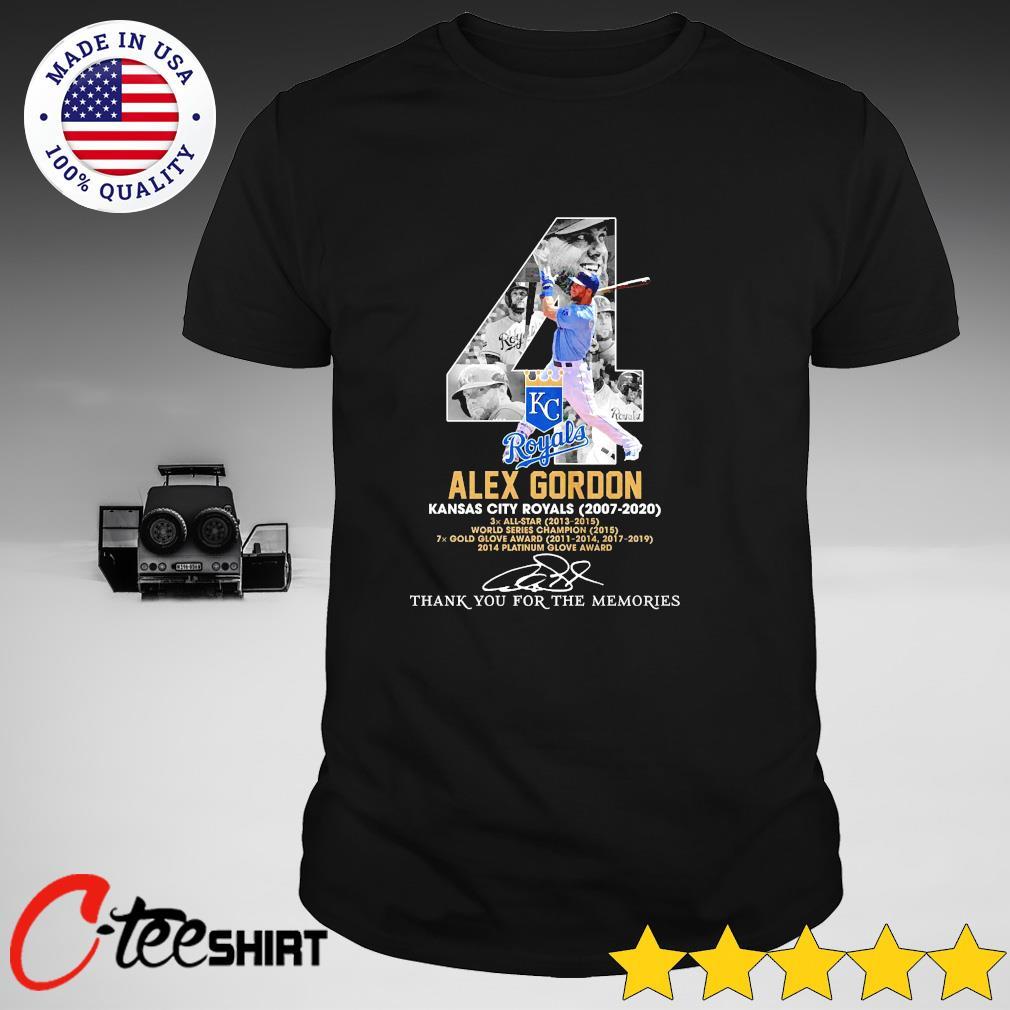 04th Alex Gordon Kansas city Royals 2007-2020 signature thank you for the memories shirt